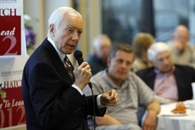 Francisco Kjolseth  |  The Salt Lake Tribune Sen. Orrin Hatch sets up time with GOP delegates at the Deseret Power building in South Jordan on Monday, April 2, 2012. U.S. Senate candidates are essentially in hand-to-hand combat over state delegates, trying to meet or phone them personally.