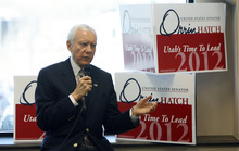 Francisco Kjolseth  |  The Salt Lake Tribune Sen. Orrin Hatch spends time with delegates from Salt Lake County at the Deseret Power building in South Jordan on Monday, April 2, 2012. U.S. Senate candidates are essentially in hand-to-hand combat over state delegates, trying to meet or phone them personally.