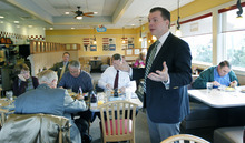 Al Hartmann  |  The Salt Lake Tribune Candidate for U.S. Senate Dan Liljenquist speaks to an early morning breakfast meeting with delegates at an IHOP in Midvale Monday April 2. U.S. Senate candidates are working hard to persuade state GOP delegates in what is essentially hand-to-hand combat campaigning, trying to meet or phone all of them personally.