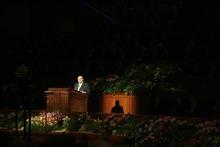 Kim Raff     The Salt Lake Tribune LDS Church President Thomas S. Monson speaks during the church's 182nd Annual General Conference in Salt Lake City on Sunday, April 1, 2012.
