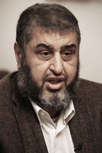 FILE - In this Tuesday, Jan. 24, 2012 file photo, Muslim Brotherhood nominated deputy leader Khayrat el-Shater speaks during an interview with the Associated Press in Cairo, Egypt. Trying to unite divided Islamists behind him, the presidential hopeful of Egypt's Muslim Brotherhood has promised to give religious clerics power to review legislation to ensure it is in line with Islamic law, a group of ultraconservative Muslim clerics said Wednesday. Brotherhood candidate Khairat el-Shater is trying to avert a split in the votes of religious conservatives in next month's presidential election. The Brotherhood is Egypt's strongest fundamentalist group, but several other Islamists are running in the vote _ particularly Hazem Abu Ismail, who has strong support among Salafis, the most hard-line religious movement in Egypt. (AP Photo/Nariman El-Mofty, File)