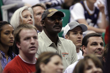 Chris Detrick  |  The Salt Lake Tribune Karl Malone watches during the second half of the game at EnergySolutions Arena Wednesday April 4, 2012. Phoenix won the game 107-105.