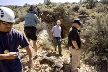 Trent Nelson  |  The Salt Lake Tribune Media crews accompanied West Valley City police officers as they searched abandoned mine shafts west of Ely, Nev., on Friday, Aug. 19, 2011, as part of the investigation into the 2009 disappearance of Susan Powell.