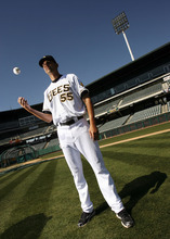 Francisco Kjolseth  |  The Salt Lake Tribune Pitcher Loek Van Mil, the tallest player in the minor league at 7'1'', will soon begin his season with Salt Lake Bees as he attends media day on Tuesday, April 3, 2012 at Spring Mobile Ballpark.