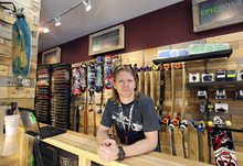 Lennie Mahler  |  The Salt Lake Tribune Daniel Dapper, owner of Epic Boardshop, poses inside the new location at the Gateway Mall in Salt Lake City, Wednesday, April 4, 2012. The shop recently opened in a space previously occupied by Gymboree, which is now located at City Creek Center.