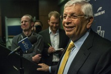 Chris Detrick  |  The Salt Lake Tribune NBA Commissioner David Stern speaks during a press conference at EnergySolutions Arena Wednesday April 4, 2012.