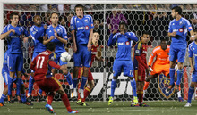 Steve Griffin/The Salt Lake Tribune   Montreal forms a wall as RSL's Javier Morales fires a penalty kick at the goal during second half action of the RSL versus Montreal soccer game at Rio Tinto Stadium in Sandy Wednesday April 4, 2012.