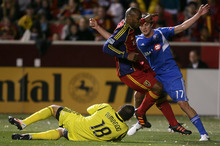 Steve Griffin/The Salt Lake Tribune   RSL goal keeper Nick Rimando makes a sliding stop during the RSL versus Montreal soccer game at Rio Tinto Stadium in Sandy Wednesday April 4, 2012.