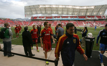 Steve Griffin/The Salt Lake Tribune   Real Salt Lake players leave the field after warming-up prior to the start of the RSL versus Montreal soccer game at Rio Tinto Stadium in Sandy Wednesday April 4, 2012.