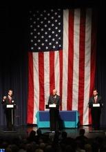 Rick Egan  | The Salt Lake Tribune   L-R Chris Herrod, Orrin Hatch, and Dan Liljenquist, GOP US Senate candidates, participate in a debate sponsored by the Utah League of Women Voters, at Juan DIego High School, Wednesday, April 4, 2012.