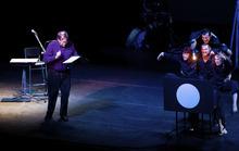 Radio producer Robert Krulwich with Pilobolus performing RadioLab's