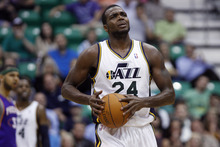 Chris Detrick  |  The Salt Lake Tribune Utah Jazz power forward Paul Millsap (24) during the second quarter of the game at EnergySolutions Arena Wednesday April 4, 2012. At half time, Phoenix is winning the game 58-56.