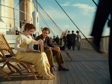 In this film image released by Paramount Pictures, Leonardo DiCaprio and Kate Winslet, left, are shown in a scene from the 3-D version of James Cameron's romantic epic