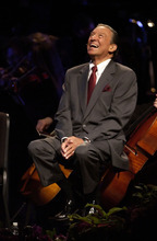 Salt Lake City,Utah--7/22/2005--  CBS Newsman Mike Wallace laughs during his spoken tribute during the LDS Church President Gordon B. Hinckley's 95th birthday celebration at the LDS Conference Center. Photo By: Chris Detrick /Salt Lake Tribune File Number: DSC_5718