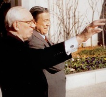 LDS church president Gordon B. Hinckley, left, is interviewed by