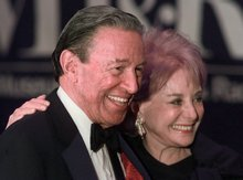 FILE - In this Feb. 4, 1999 file photo, Barbara Walters and Mike Wallace pose for photographers before the start of a gala for The Museum of Television and Radio in New York. Wallace, the dogged, merciless reporter and interviewer who took on politicians, celebrities and other public figures in a 60-year career highlighted by the on-air confrontations that helped make