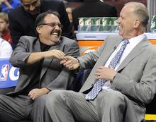 Philadelphia 76ers coach Doug Collins, right, talks to Orlando Magic coach Stan Van Gundy before an NBA basketball game, Saturday, April 7, 2012, in Philadelphia. The Magic won 88-82. (AP Photo/Michael Perez)