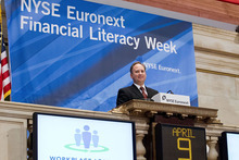 Sterling Nielsen, CEO of Mountain America Credit Union, was among representatives of several financial institutions that rang the opening bell Monday morning at the New York Stock Exchange to celebrate Financial Literacy Week.