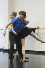 Chris Detrick  |  The Salt Lake Tribune Ballet West II director Christopher Ruud works with dancer Amy Potter as they rehearse