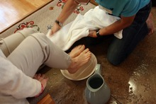 Kim Raff | The Salt Lake Tribune  Jon Schumann, right, washes Penni Schumann's feet during a foot-washing ritual at All Saints Episcopal Church in Salt Lake City on April 5, 2012.