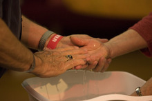 Paul Fraughton | The Salt Lake Tribune Parishoners wash their hands during a Maundy Thursday observance at Our Saviour's Lutheran Church on April 5, 2012.