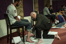 Chris Detrick  |  The Salt Lake Tribune Clair Hadley washes Josh Jones' feet during a Maundy Thursday service at Mount Olympus Presbyterian Church on April 5, 2012.