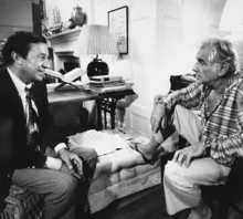 FILE - In this Feb. 2, 1980 file photo, co-editor Mike Wallace, left, interviews composer Leonard Bernstein during taping of a part of CBS-TV's
