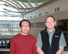 Courtesy photo USU doctoral candidate Zhiyong Yang, left, and biochemistry professor Lance Seefeldt.