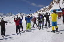 Skiers participating in the