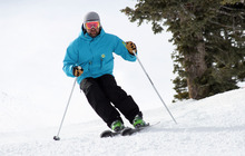 Francisco Kjolseth  |  The Salt Lake Tribune Nick Castagnoli with Rossignol takes to the slope of Canyons as he takes out a pair of E83s, one of several in the new Rossignol Experience line of ski.