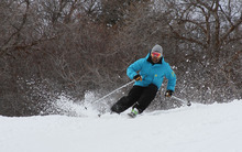 Francisco Kjolseth  |  The Salt Lake Tribune Nick Castagnoli with Rossignol takes to the slope of  Canyons on a pair of E83s, one of several in the new Rossignol Experience line of skis with rocker technology.