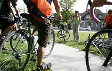 Francisco Kjolseth  |  The Salt Lake Tribune Dozens of cyclists showed up at Liberty Park on Saturday for a tour of new and redesigned bikeways in Salt Lake City.
