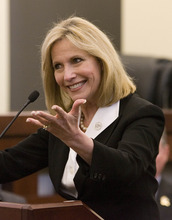Paul Fraughton | The Salt Lake Tribune. Cherilyn Eagar, candidate for the second congressional district at a debate held in the North Salt Lake Council Chambers  Monday, April 9, 2012