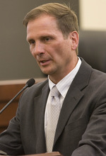Paul Fraughton | The Salt Lake Tribune. Chris Stewart, candidate for the second congressional district at a debate held in the North Salt Lake Council Chambers  Monday, April 9, 2012