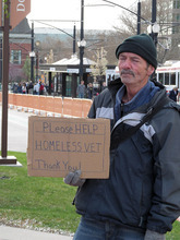 Donald W. Meyers  |  The Salt Lake Tribune  Justin Peerson, who is homeless, solicits handouts by  EnergySolutions Arena in Salt Lake City on Friday (April 6, 2012). Civil rights attorney Brian Barnard said cities need to review their panhandling ordinances after a federal court struck down the state law banning panhandling alongside a road.