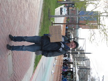 Donald W. Meyers  |  The Salt Lake Tribune  Justin Peerson, a homeless man, solicits handouts by  EnergySolutions Arena in Salt Lake City on Friday (April 6, 2012). Civil rights attorney Brian Barnard said cities need to review their panhandling ordinances after a federal court struck down the state law banning panhandling alongside a road.
