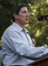 Trent Nelson  |  The Salt Lake Tribune Lyle Jeffs, FLDS Bishop and brother of Warren Jeffs, speaks to followers in Salt Lake City Wednesday, July 29, 2009 following a hearing to decide on the sale of the Berry Knoll property in the United Effort Plan (UEP) land trust.