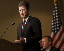 Trent Nelson     The Salt Lake Tribune U.S. Attorney for Utah David Barlow addresses a capacity room at the Trafficking in Persons Symposium at the Hilton Tuesday, April 10, 2012 in Salt Lake City, Utah.