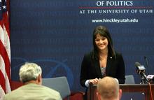 Steve Griffin/The Salt Lake Tribune  University of Utah student Theresa Krause introduces Salt Lake City Mayor Ralph Becker as students unveil their Utah Transparency Project at the Hinckley Institute of Politics in Salt Lake City, Utah, April 11, 2012.