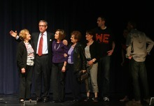 Kim Raff   The Salt Lake Tribune Scott Howell stands with his family on stage after participating in a Democratic debate for U.S. Senate with Pete Ashdown at Juan Diego Catholic High School auditorium in Draper, Utah on April 11, 2012.