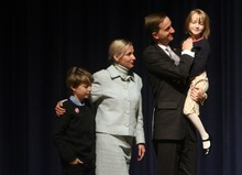 Kim Raff   The Salt Lake Tribune Pete Ashdown stands with his family on stage after participating in a Democratic debate for U.S. Senate with Scott Howell at Juan Diego Catholic High School auditorium in Draper, Utah on April 11, 2012.