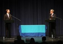 Kim Raff   The Salt Lake Tribune (left) Pete Ashdown and Scott Howell participate in a Democratic debate for U.S. Senate at Juan Diego Catholic High School auditorium in Draper, Utah on April 11, 2012.