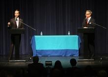 Kim Raff   The Salt Lake Tribune (left) Pete Ashdown answers a question as Scott Howell looks on during the Democratic debate for U.S. Senate at Juan Diego Catholic High School auditorium in Draper, Utah on April 11, 2012.