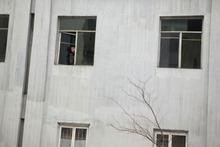 A North Korean woman peeps out of a window at a residential building in Pyongyang, North Korea, Thursday, April 12, 2012. (AP Photo/Ng Han Guan)
