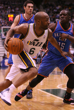 Leah Hogsten  |  The Salt Lake Tribune Jazz's Jamaal Tinsley had 9 points in the first half.  Utah Jazz lead 52-44 after the first half against Oklahoma City Thunder, Tuesday, March 20, 2012, at the Energy Solutions Arena in Salt Lake City, Utah .