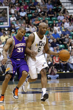 Chris Detrick  |  The Salt Lake Tribune Utah Jazz point guard Jamaal Tinsley (6) is guarded by Phoenix Suns point guard Sebastian Telfair (31) during the second quarter of the game at EnergySolutions Arena Wednesday April 4, 2012. At half time, Phoenix is winning the game 58-56.