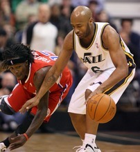 Steve Griffin  |  The Salt Lake Tribune   Utah's Jamaal Tinsley keeps the ball away from Courtney Fortson during second half action of the Utah Jazz versus Los Angeles Clippers game at EnergySolutions Arean in Salt Lake City, Utah  Tuesday, January 17, 2012.