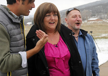 Al Hartmann  |  The Salt Lake Tribune Vicki and William Naggy, of Acme, PA, react as they get a first look at their new $2 million dollar grand prize HGTV Dream Home in Midway on Friday, April 13.