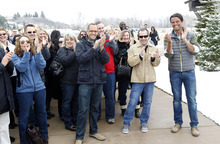 Al Hartmann  |  The Salt Lake Tribune Crowd and members of HGTV staff applalud as Vicki and William Naggy of Acme, PA, arrive and get a first look at their new $2 million dollar grand prize HGTV Dream Home in Midway on Friday, April 13, 2012.