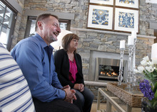 Al Hartmann  |  The Salt Lake Tribune William and Vicki Naggy, of Acme, PA, settle in to the living room and relax before taking a tour of their new $2 million dollar grand prize HGTV Dream Home in Midway on Friday, April 13.